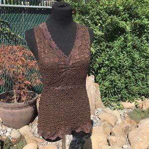 Boho brown stretch lace tank top